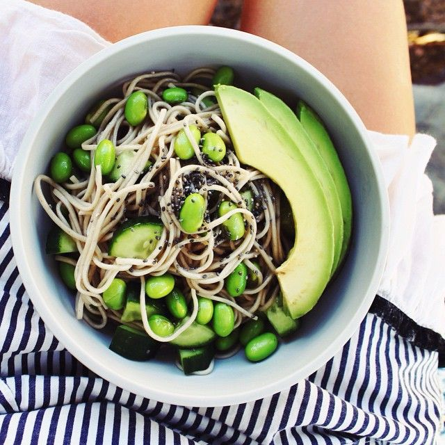 www.ontheburrow.com | Cold soba noodles with edamame, cucumber, chia + avocado in a lemon miso dressing. Instagram @theburrow_