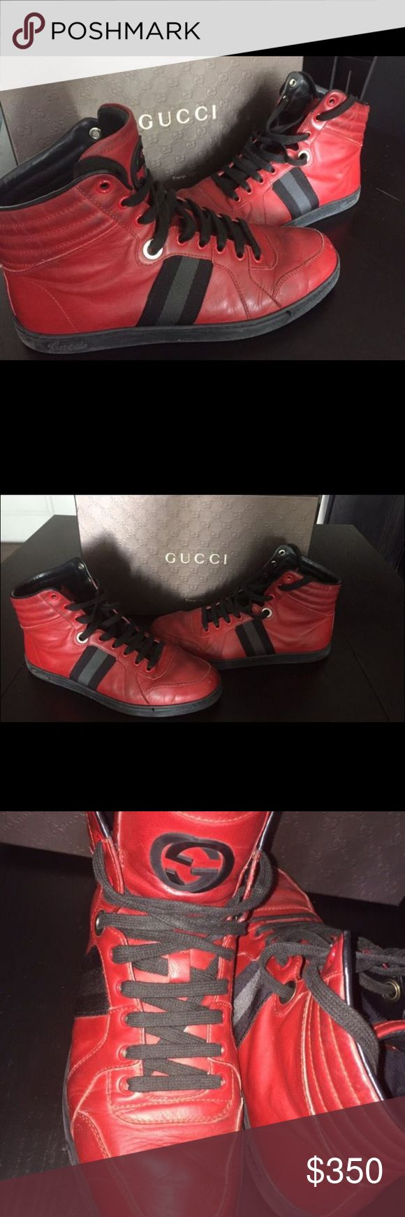 Authentic Gucci High-top Sneaker Authentic Red and Black Gucci Leather High-top Sneaker (Size 7Gucci) Gucci Shoes Sneakers