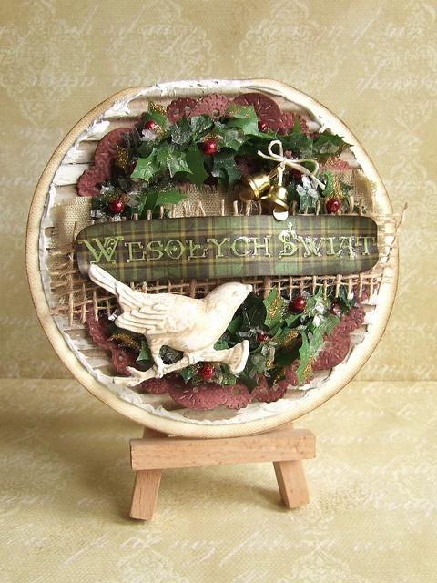 świąteczna kartka ze stroikiem by Dziwolonk, via Flickr