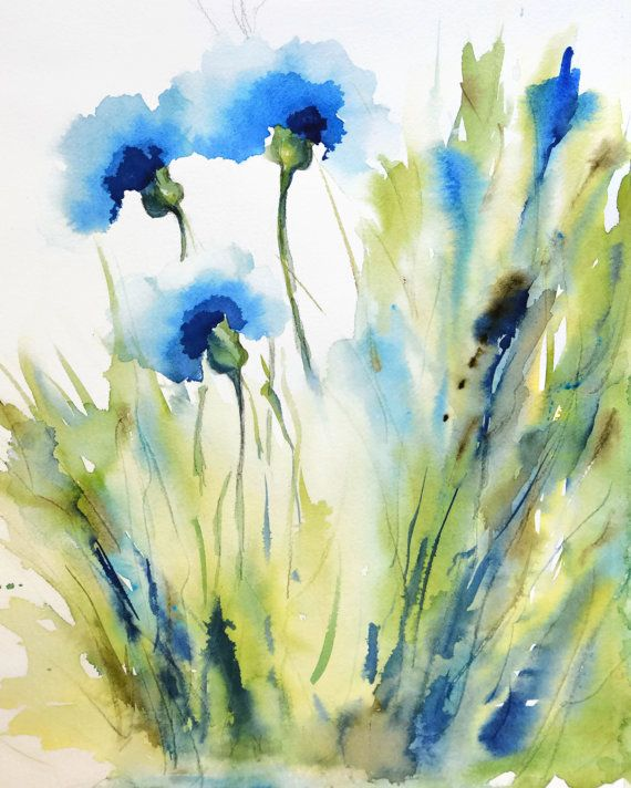 Flowers for June! Spring Flower Watercolor Painting Print, Bachelor Button Flower, CornFlower, Flower in a Field, Whimsical Art Print, Blue – Malerei