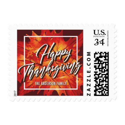 HAPPY THANKSGIVING  GOLD MAPLE LEAVES POSTCARD POSTAGE - script gifts template templates diy customize personalize special