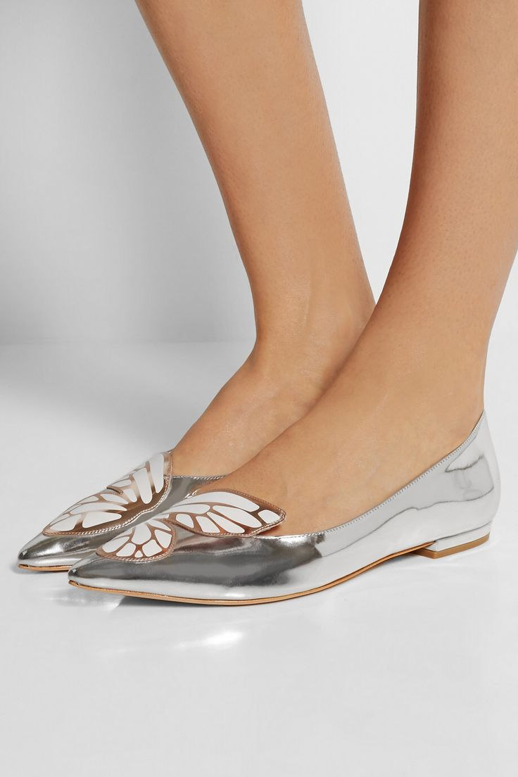 SOPHIA WEBSTER Bibi Butterfly metallic patent-leather point-toe flats $350.00
