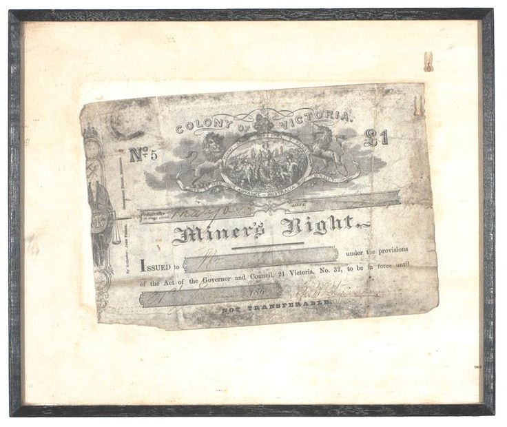 Miner's Right - Issued at Maryborough, Victoria, Feb 1865 - Museum Victoria
