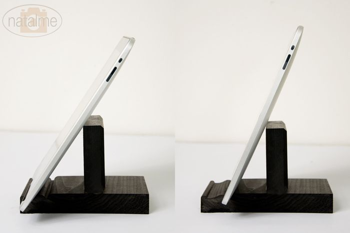 I got a tablet for my birthday, so now I need one of these. DIY tablet stand from natalme.