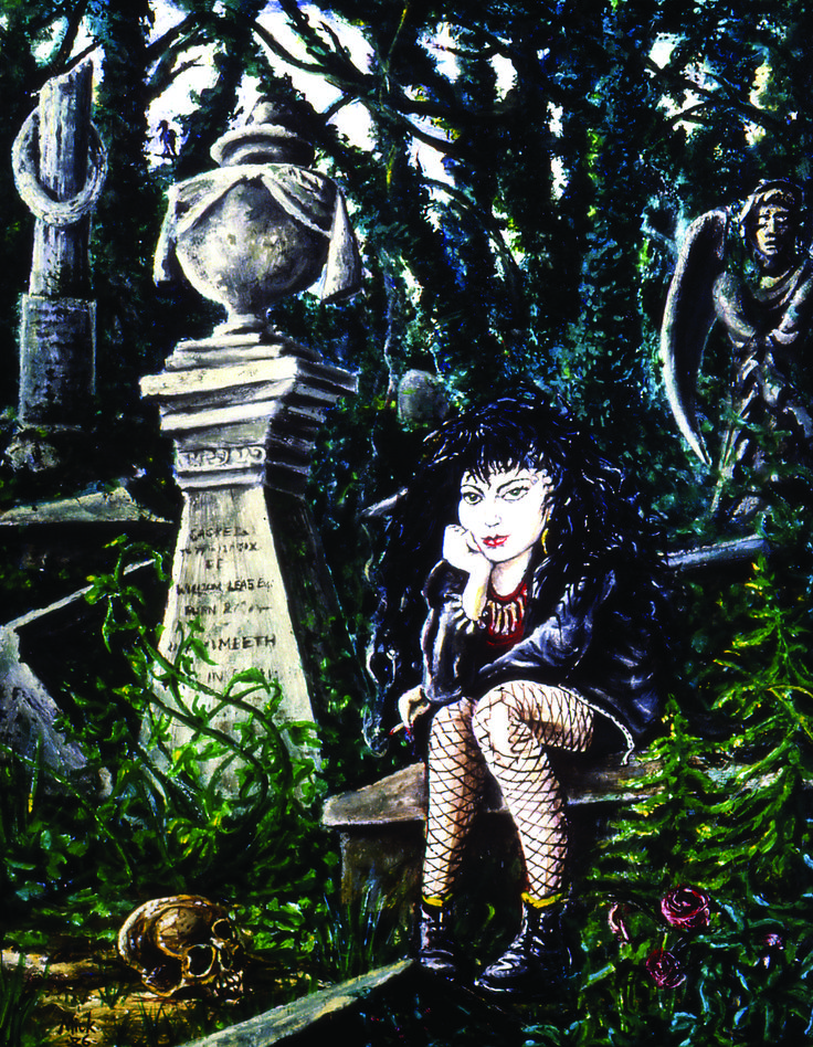 Debbie in Highgate Cemetery    Oil Painting by Mike Hawthorne 1986