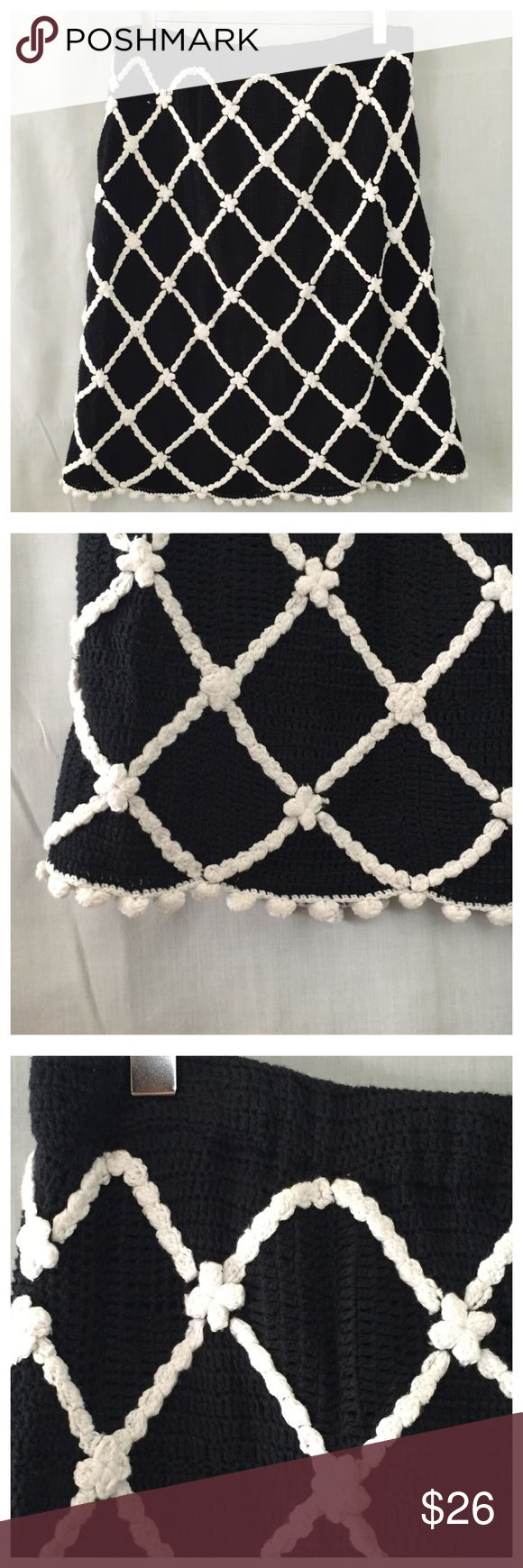 Etcetera Crochet Diamond Lattice Pom Pom Skirt L Etcetera Crochet Diamond Lattice Pom Pom Black White Skirt  • Large  • 100% cotton • Fully lined • Black crochet sweater knit background with white crochet appliqué diamond flower lattice design with pom-pom embellishment at hem • Elastic waistband • 16 inch waist • 21 inch hips • 24 inch length • A line • Very good pre-loved condition, no imperfections Etcetera Skirts