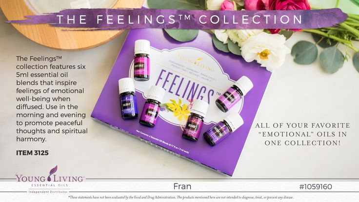 The Feelings Kit by Young Living Essential Oils Forgiveness, Valor II, Inner Child, Present and more Contact Fran Asaro your Young Living Distributor for more information