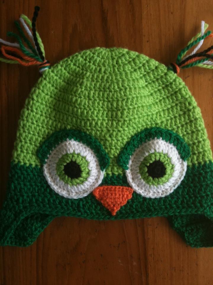 Green Owl Crochet Hat
