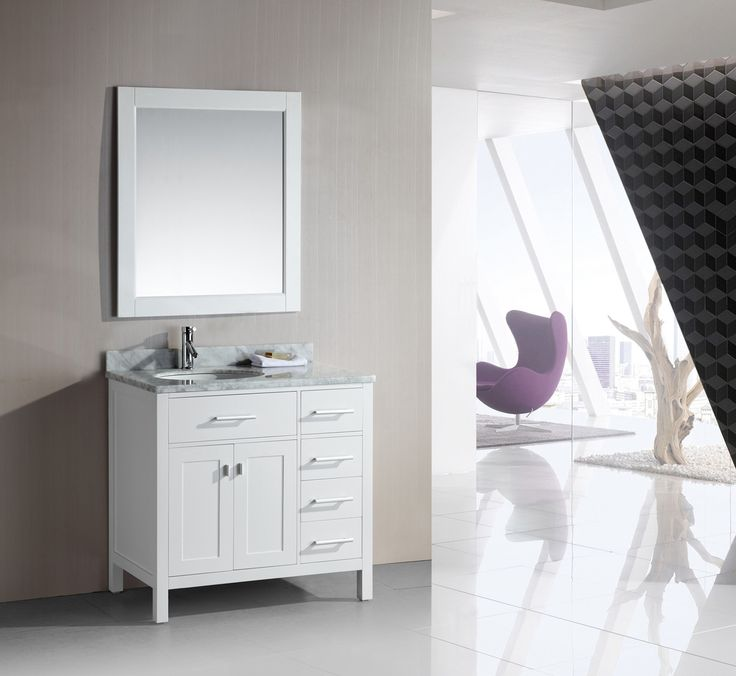 London 36in Single Sink Vanity Set In White Finish With Drawers On The  Right DEC076D