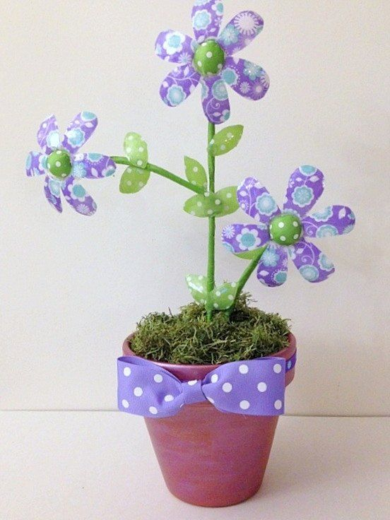 Recycle/Upcycle Water Bottle Ribbon Flowers