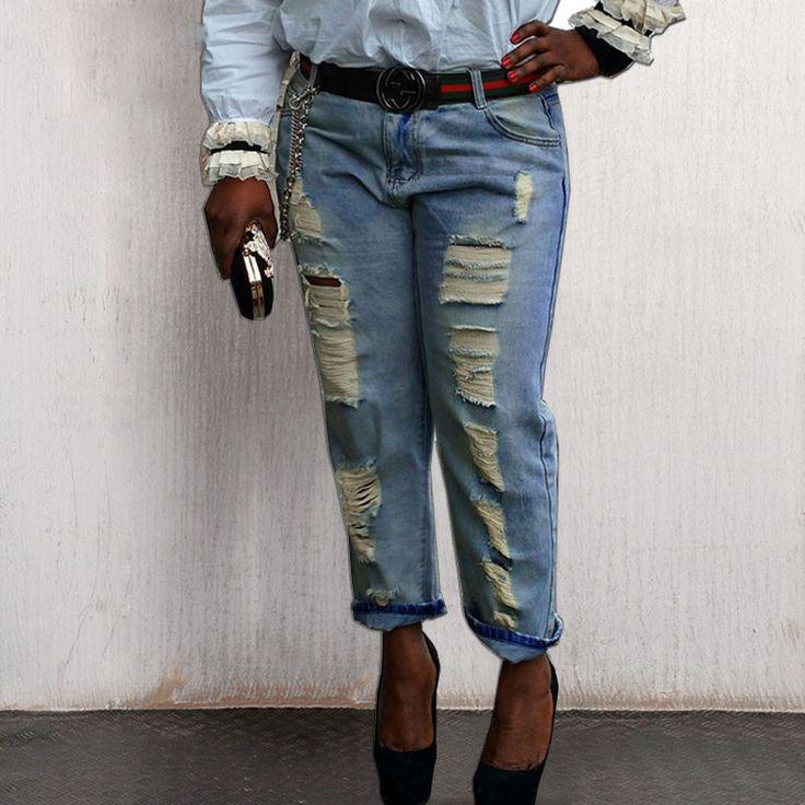 Loose Ripped Jeans XXS-XL