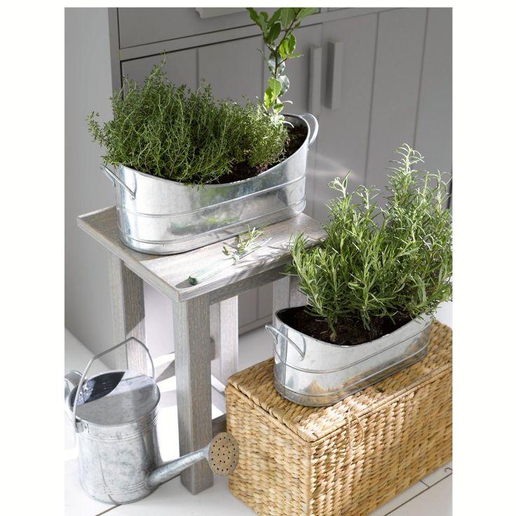 Lote de 2 jardineiras encaixáveis, em metal galvanizado, bendo La Redoute Interieurs   La Redoute