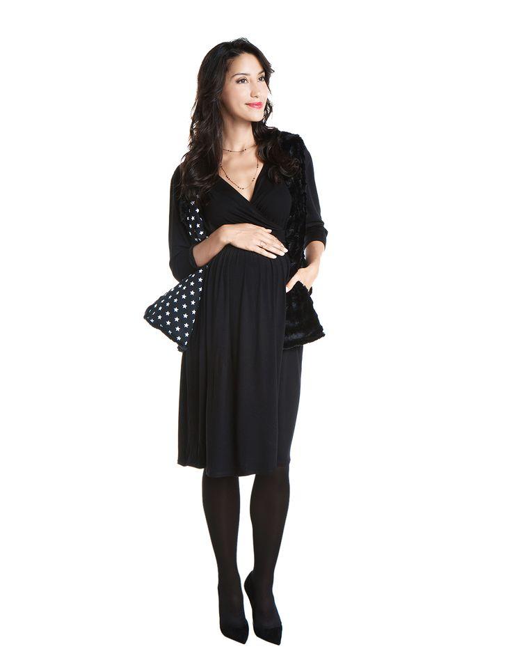 Jasmine midi dress/Pamina fur vest - black - day&night - during&after pregnancy - chic mum - check now! www.nanarisematernity.com
