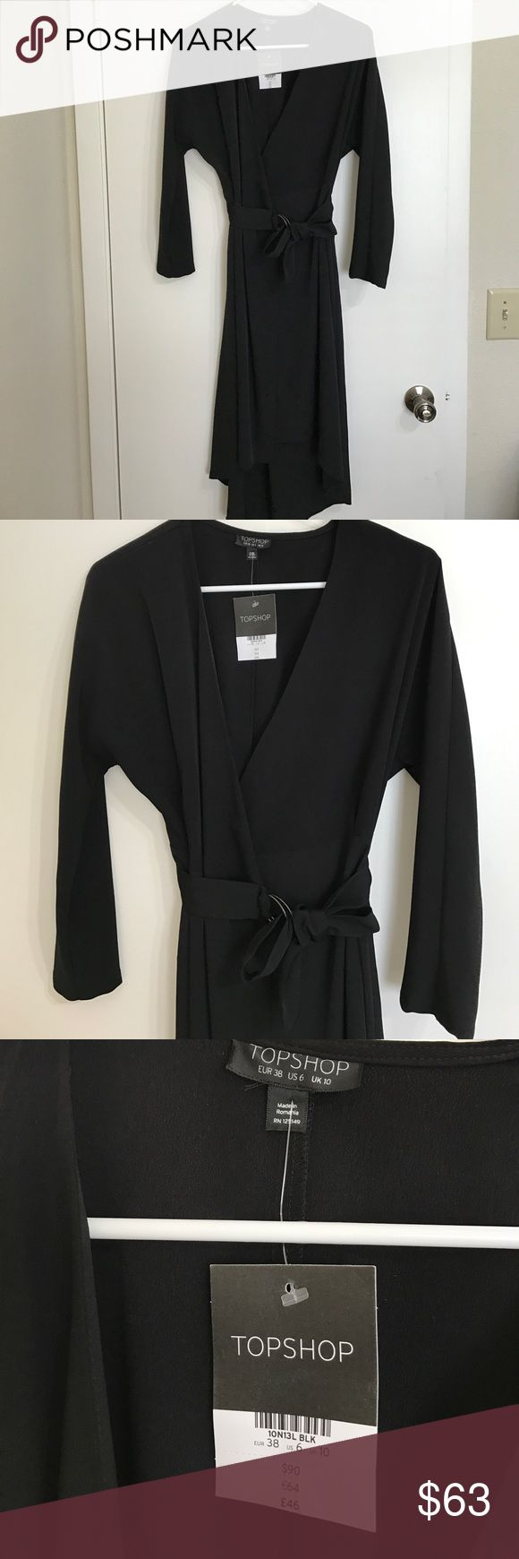 TOPSHOP BLACK WRAP DRESS Black. Belt to wrap around. Very nice for business casual settings. No trades. FINAL PRICE. Topshop Dresses Midi