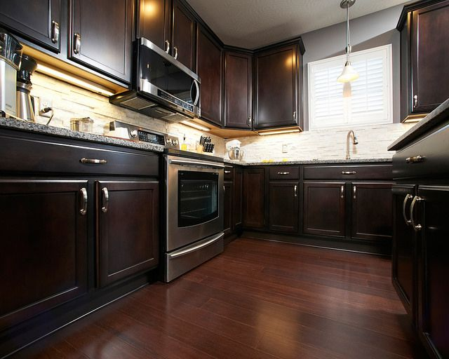 The Annapolis Family Kitchen   Spring Valley Maple Kona Cabinets, Hilea  Uniclic Warm Chocolate Wood Floor