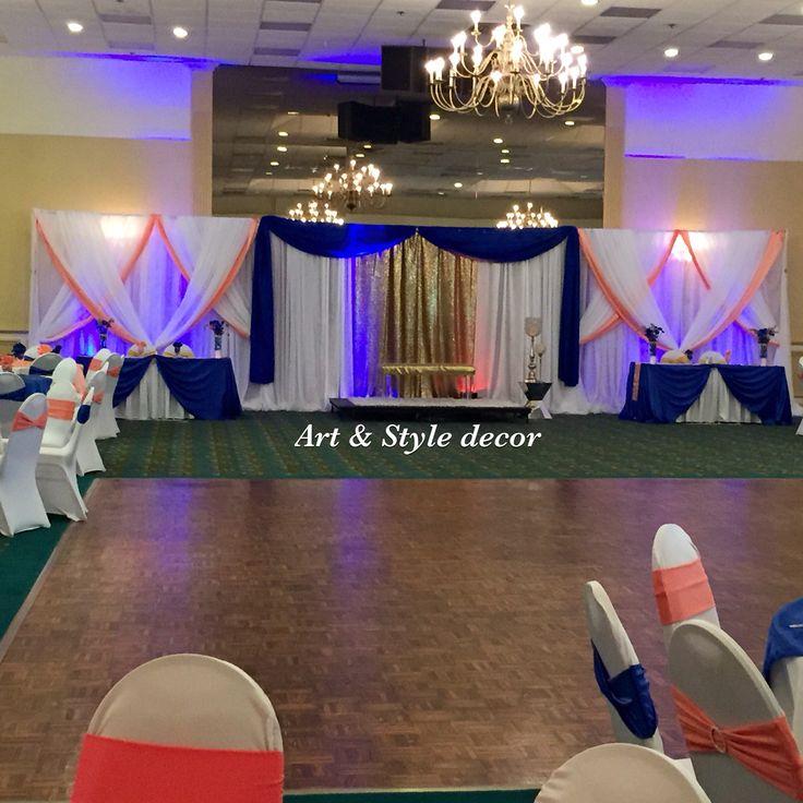 Coral Wedding Reception Ideas: Royal Blue And Coral Wedding Decor. #artandstyledecor