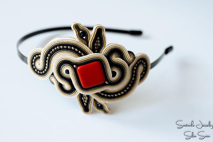 Soutache headband with Preciosa beads