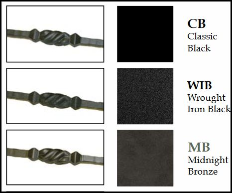 Italian Wrought Iron Balusters And Newels In Different Colors Including:  Classic Black, Wrought Iron
