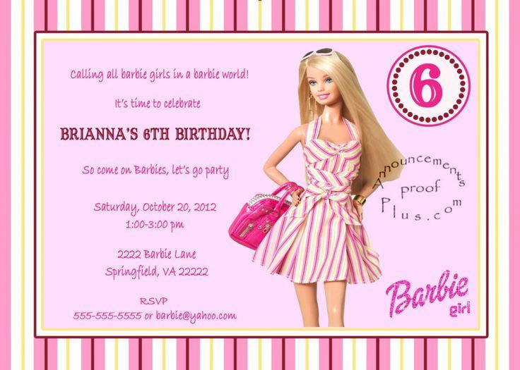Barbie Party Theme Printables Invitations Barbie Birthday - Free barbie birthday invitation layout