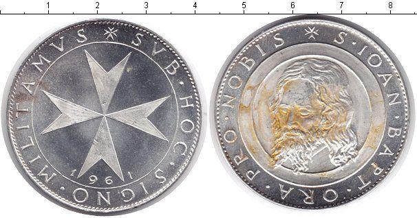 Фотография Монеты Мальтийский орден 1 скудо Серебро 1961 Св. Иоанн Баптист. Мальтийский крест