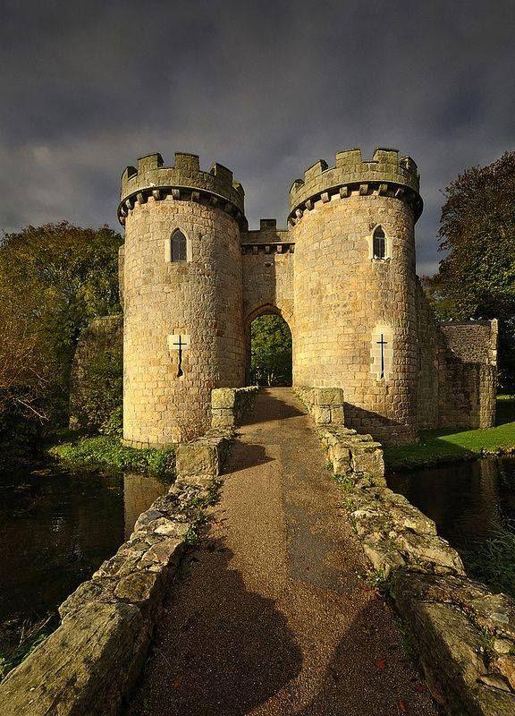 Whittington Castle Drawbridge Shropshire, England.