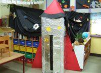 Gebruik een zelfgemaakt raket als ingang voor de poppenhoek - als de kleuters…