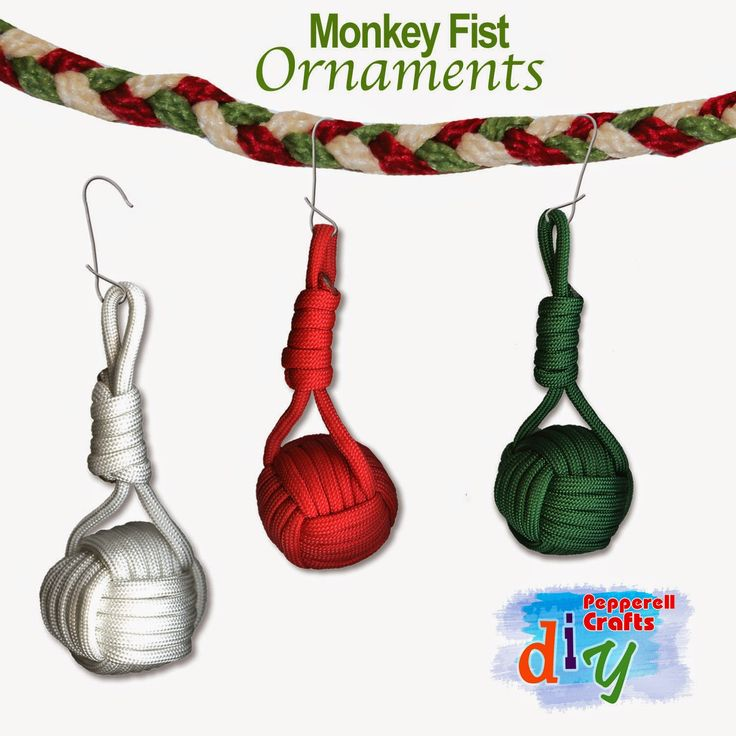 Maybe the coolest thing you'll see all day: Paracord Monkey Fist ornaments.  Has anybody ever hung these up on the tree?! http://pepperellbraiding.blogspot.com/2014/11/prepping-for-decorating.html
