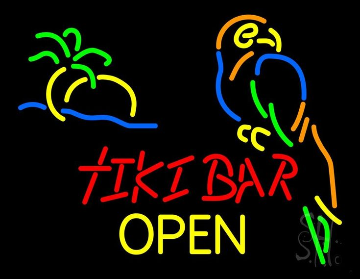 Tiki Bar Open Neon Sign 24 Tall x 31 Wide x 3 Deep, is 100% Handcrafted with Real Glass Tube Neon Sign. !!! Made in USA !!!  Colors on the sign are Green, Yellow, Blue, Orange and Red. Tiki Bar Open Neon Sign is high impact, eye catching, real glass tube neon sign. This characteristic glow can attract customers like nothing else, virtually burning your identity into the minds of potential and future customers.