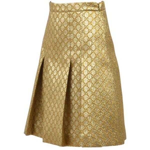 Midi Gg Lurex Skirt (£645) ❤ liked on Polyvore featuring skirts, gold, gucci, midi skirts, brown midi skirt, mid calf length skirts and lurex skirt