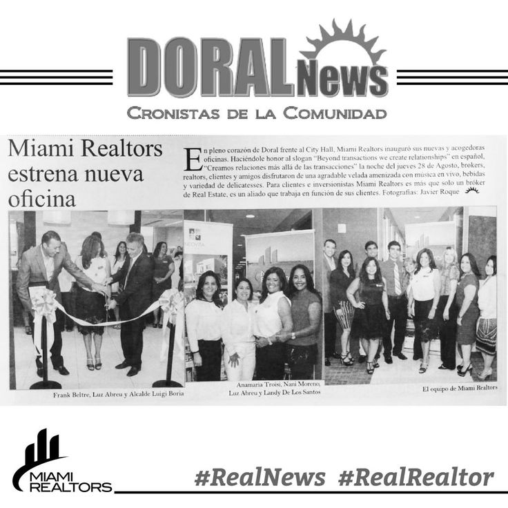 We are in the news! Is now official are offices are open! We want to thank our Mayor Luigi Boria of the Doral City. #MiamiRealtors #success #Goals #Dreams #Life #Propeties #Realtors #Broker #Event