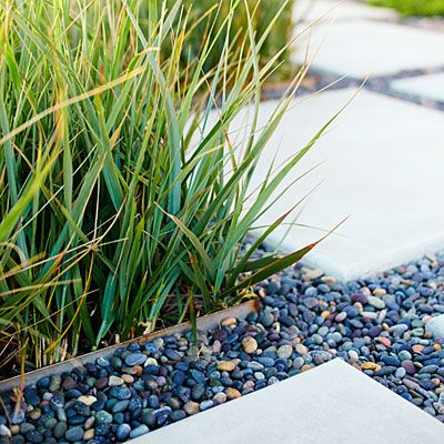 Mexican Beach pebbles - Beach Patio Design Tips - Sunset  black pebbles! that's it!