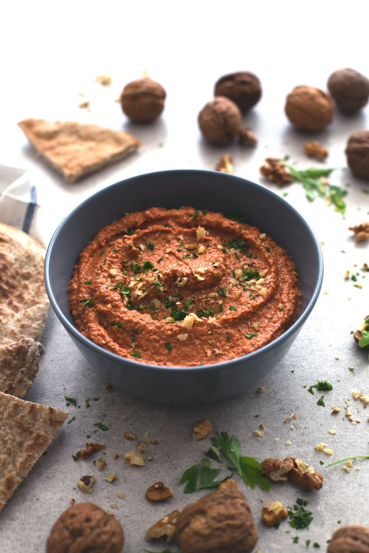 Muhammara (red pepper and walnut dip) - Muhammara is a spicy Syrian red pepper and walnut dip. It's so tasty and is ready in less than 5 minutes, you just need to blend all the ingredients!