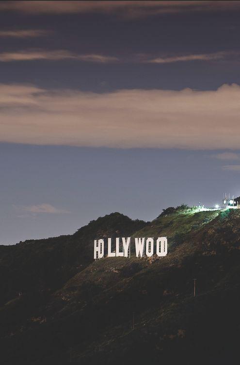 Hollywood sign at dusk