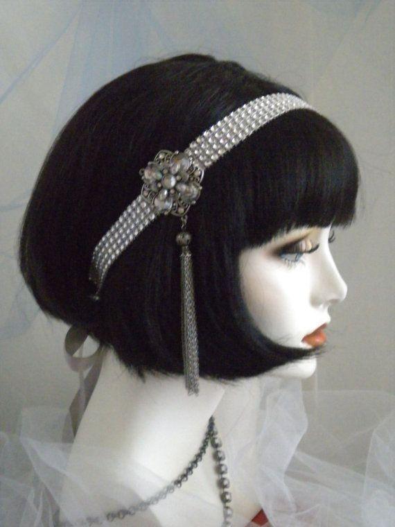 1920's Headpiece, Flapper Headband, Gatsby, Silver, Crystal,  no. 106