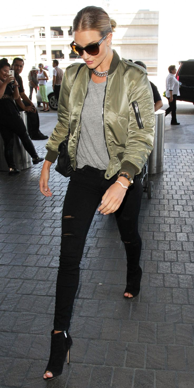 10 Celebrities Prove the Army Green Bomber Jacket Is the Season's New Must-Have - Rosie Huntington-Whiteley - from InStyle.com