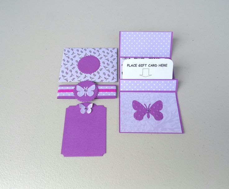 Butterfly themed gift card holder in purple for her - Credit card envelope with lilac and purple butterflies - Money card purple polka dots by prettypapernz on Etsy