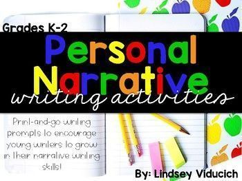 This Personal Narrative packet includes graphic organizers, prompts, writing papers, and anchor chart materials. These activities are all designed for the kindergarten, first, and second grade classrooms, with differentiated writing pages for each grade level!