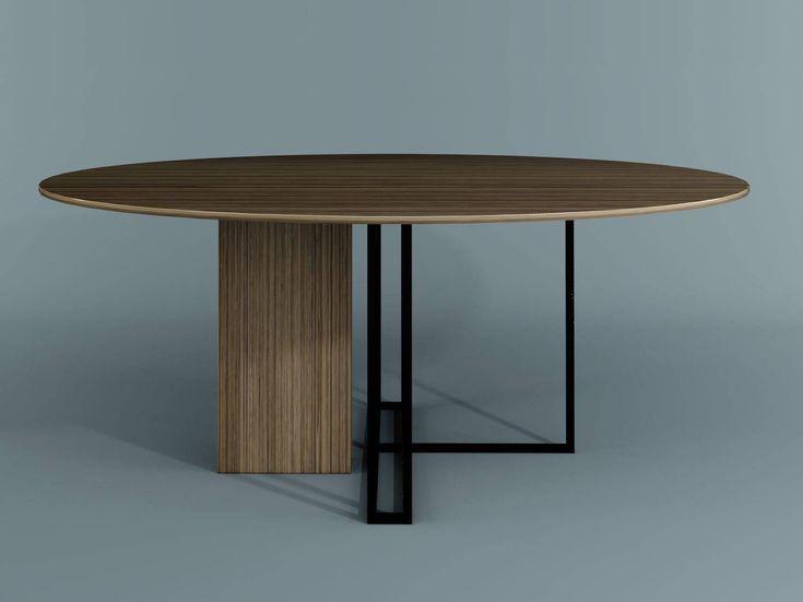 Tavolo rotondo in legno PLINTO | Tavolo rotondo by Meridiani