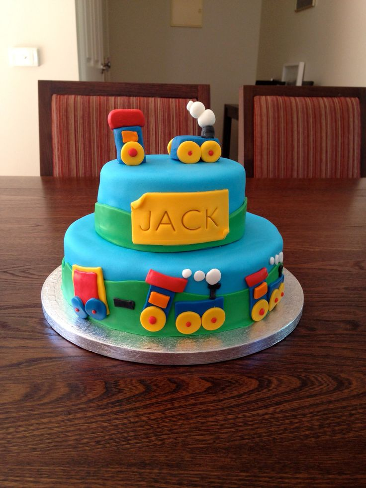 2nd birthday train cake. Two tiered covered in fondant.