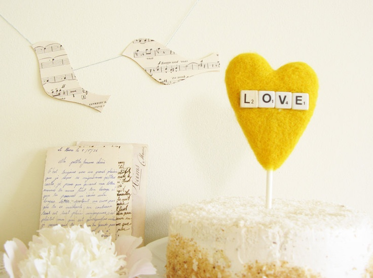 DIY for the big day     Yellow Heart Wedding Cake Topper with Vintage Dice Sign LOVE Craspedia Color Summer Wedding Photo Prop by Cherrytime. $39.00, via Etsy.