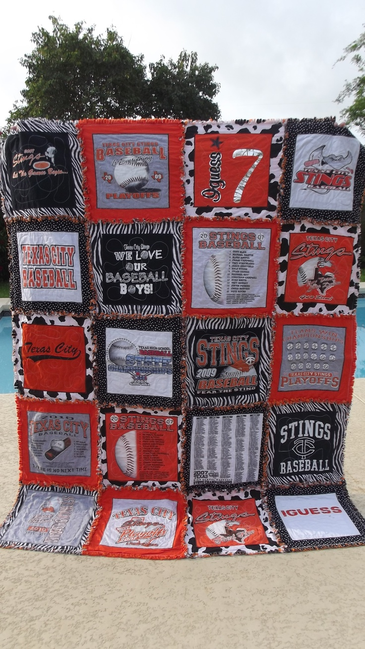 Tshirt memory rag quilts - starting at $159 (one in picture is $359).  email me at michellesrags@gmail.com or visit my page at www.facebook.com/michellesrags for more sizes, prices, and other designs.    I can make any size.  You pick your colors.  Great graduation gifts.  Shipping available and I take paypal and credit card payments.