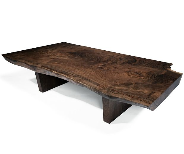 Hudson live edge coffee table solid claro walnut slab live organic edge approx 60 l x 40 w x Live wood coffee table