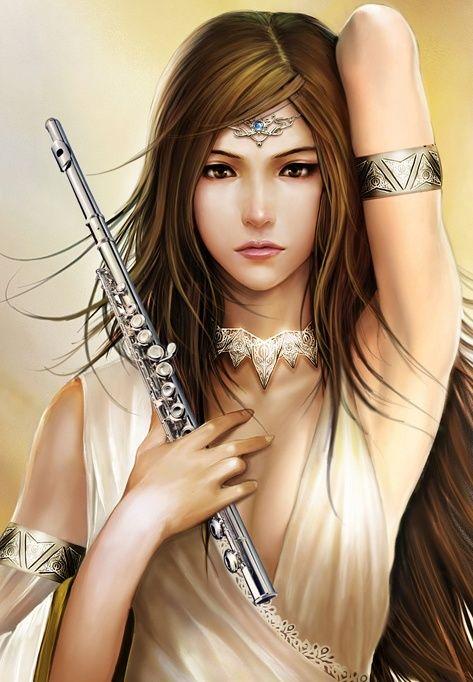 Elfe joueuse de flûte enchantée