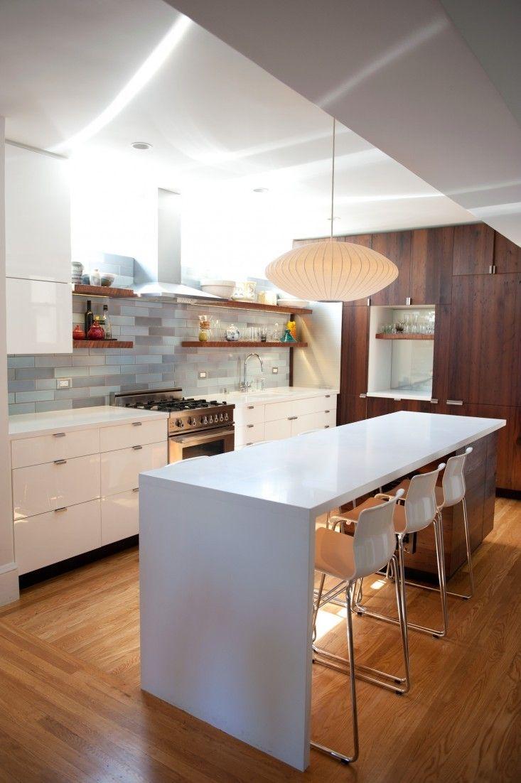 open shelves around stove