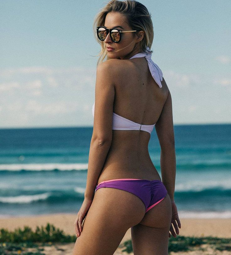 https://www.dollboxx.com.au Less Monday more beach  #dollboxx babe @georgiagravanis looking incredible in our White Multiway Bandeau Bikini Top Reversible Pink/Purple Flaunt It Bottoms & Gigi sunglasses