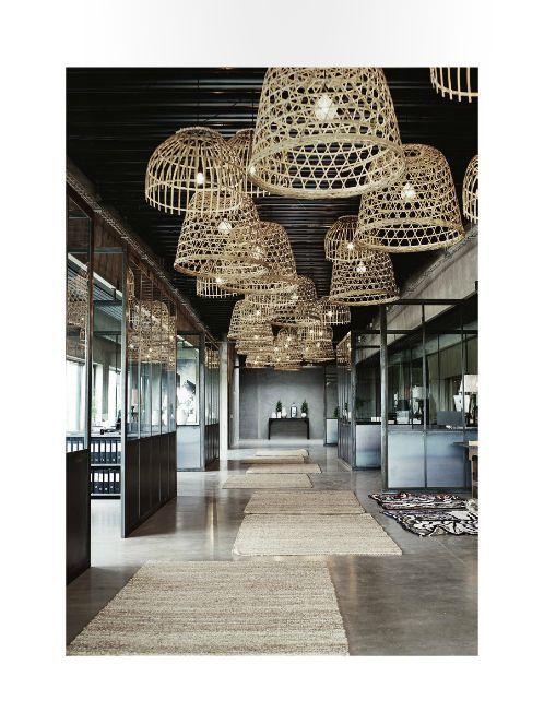 SANTORINI Limited edition rattan wicker natural Handmade Pendant Light brutalism minimal grey nautical danish design basket