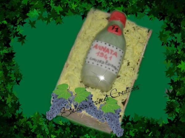 Torta cassetta con bottiglia