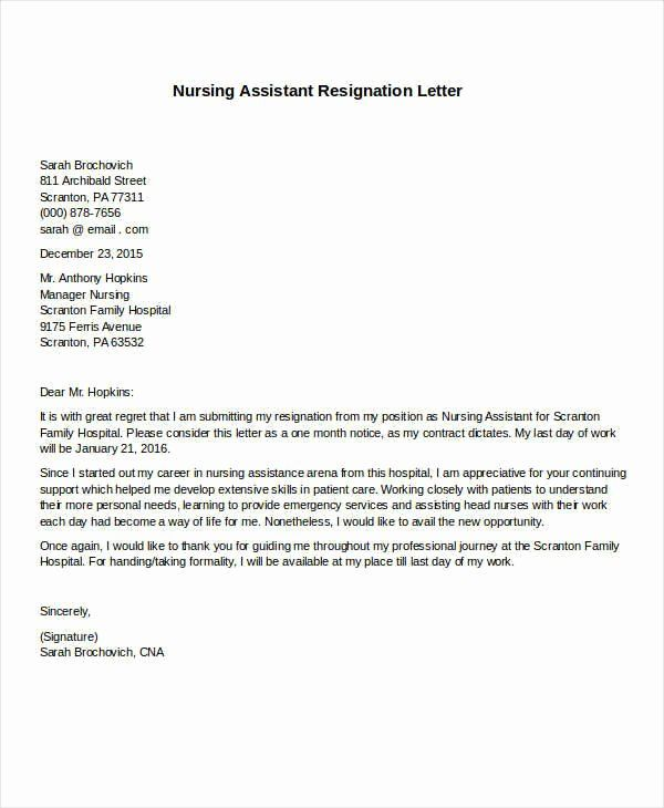 Resignation Letter Sample Nurse
