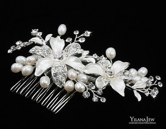 Pearl Austrian Crystal Hair Comb Prom Party Flower Party Bridal Jewelry 3080