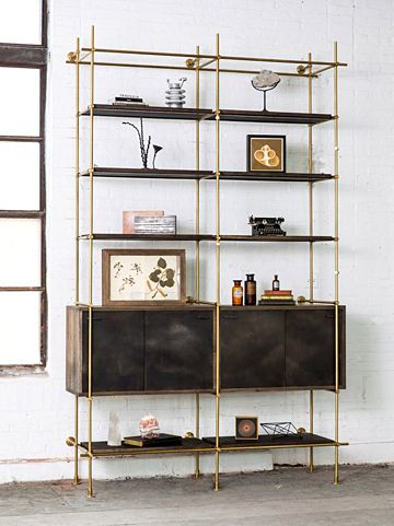 Anonymous; Brass and Oxidized Oak 'Collector's Shelving System' by Amuneal Manufacturing Corporation, 2013.